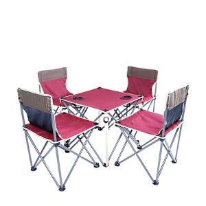 御目 户外家具 名族风折叠桌椅组合五件套便携自驾野餐烧烤迷彩套沙滩休闲创意家具铝合金交叉杠杆