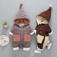 初生婴儿冬装新生儿衣服冬季男女宝宝连体衣爬服