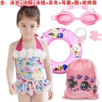 新款儿童泳衣 韩版宝宝女童连体裙式游泳衣 中小女孩花朵泳装 配泳帽
