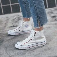 高帮帆布鞋黑色高邦板鞋学生百搭情侣韩版球鞋布鞋女鞋子