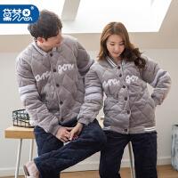 冬季新款珊瑚绒情侣睡衣女加厚三层夹棉家居服男士长袖法兰绒套装