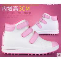 女士魔术贴鞋带高帮鞋 内增高鞋子防水运动鞋 新款 高尔夫球鞋