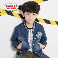 【一件5折】托马斯正版童装男童春装时尚纯棉牛仔衫中童印花立领棒球衣外套