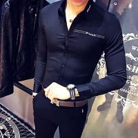 春季男士长袖衬衣韩版青年因为刺绣美发师KTV酒吧调酒工作服衬衫
