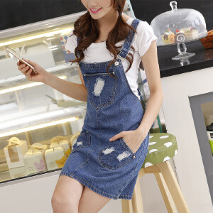 Modern idea新款牛仔背带裙韩版学生牛仔吊带裙女装