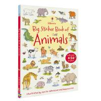【首页抢券300-100】Usborne Big Sticker Book of Animals 学动物单词贴纸书 幼儿