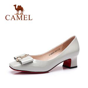 Camel/骆驼女鞋 2017春夏新款 时尚优雅浅口粗跟单鞋女