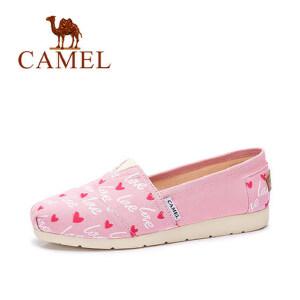 camel骆驼女鞋 2017春夏新款 舒适休闲印花桃心帆布鞋 浅口平底单鞋