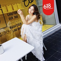 原创泰国海边度假沙滩裙夏季流苏羽毛吊带不规则连衣裙白色显瘦仙女裙GH04