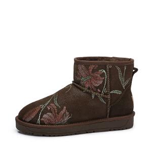 camel/骆驼女鞋 2017秋冬新款舒适保暖靴子 中国风花朵刺绣平跟雪地靴女