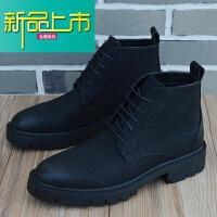 新品上市韩版休闲短靴男士高帮皮鞋复古尖头潮靴马丁靴男英伦风靴子男增高