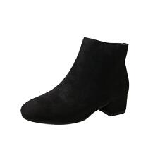 20190923034717634靴子女磨砂短靴粗跟高跟英伦2018秋冬新款单靴绒面方头马丁靴女鞋