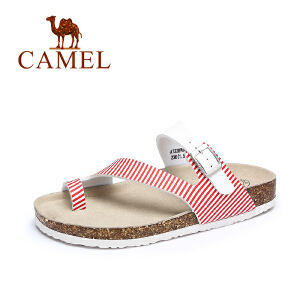 Camel/骆驼女鞋 夏季新款 休闲轻便PVC夹趾凉拖 女平底沙滩凉鞋