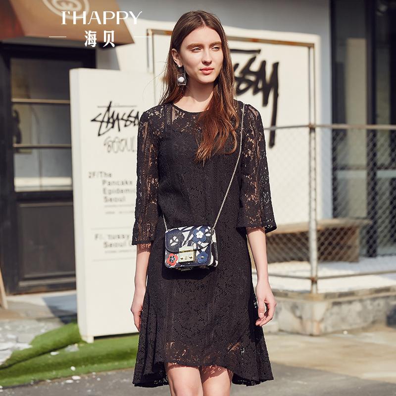 【街拍】海贝2017年秋季新款女装 淑女圆领中袖蕾丝修身两件套中裙连衣裙