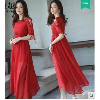沙滩裙海边度假新款女波西米亚红色雪纺连衣裙显瘦气质长裙 可礼品卡支付