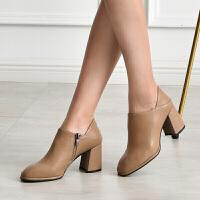 新款单鞋女女士皮鞋深口女单鞋方头女工作小皮鞋