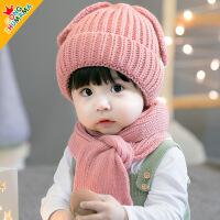 儿童帽子秋冬季0-1-2岁宝宝毛线帽男女小孩公主帽婴儿帽冬天