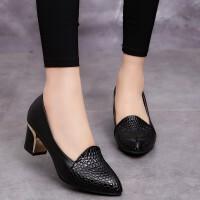 大东同款粗跟单鞋女中跟韩版百搭尖头黑色妈妈工作鞋舒适小皮鞋四季鞋