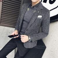 秋冬男士毛呢西服外套发型师韩版条纹小西装男青年时尚帅气西装潮
