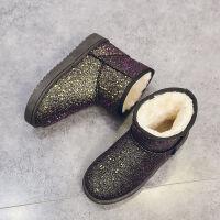 新款雪地靴女款软底短靴短筒防滑棉靴女防水加厚保暖鞋加绒雪地棉 黑色 黄黑色