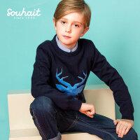 【3件3折 到手价:86.7元】水孩儿(SOUHAIT)秋冬新款男童小鹿套头线衣AMDDL551