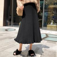 针织半身裙秋冬新款高腰中长款A字裙百褶裙伞裙黑色长裙毛线裙女 黑色 S
