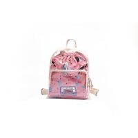 夏天包包女2018新款潮个性透明果冻双肩背包学生包旅行包女包 粉色