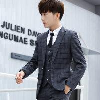 休闲西装男套装青少年韩国西服三件套男士英伦风春秋西服韩版潮流