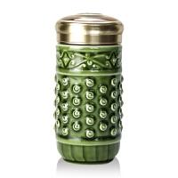 乾唐轩活瓷杯正品小乾坤随身杯350ml创意便携带盖陶瓷水杯杯子送亲友自用