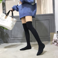 弹力针织袜子靴长筒过膝长靴子女冬季尖头高筒平底马靴瘦瘦靴 加绒款