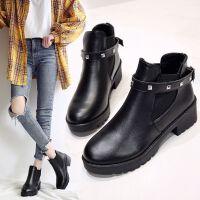 马丁靴女2019新款英伦风百搭短靴女春秋单靴厚底增高切尔西靴加绒 黑色