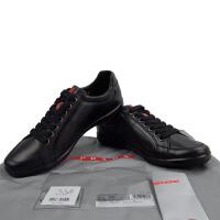 Prada普拉达男士黑色真皮圆头系带休闲鞋 4E2439 黑色