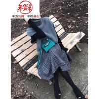 胖mm秋冬2018新款大码时尚微胖减龄网红两件套装裙子显瘦洋气冬季 高领毛衣+半身裙