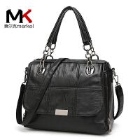 【送手包】莫尔克女包斜挎包软皮大包2017新款潮时尚黑色手提包大气女式包中年妈妈包