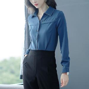 纤纯伊2018秋季新款女装上衣V领新颖设计垂感女长袖韩版雪纺衬衣