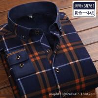 男士保暖衬衫男长袖加绒加厚寸衫冬季韩版休闲格子衬衣男装