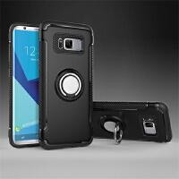 BaaN 三星S8手机壳创意支架指环车载防摔多功能保护套 酷黑色