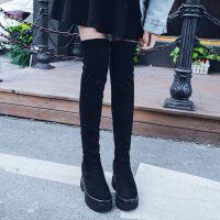 不掉筒弹力靴显瘦性感铆钉加绒过膝长靴秋冬保暖厚底增高长筒靴女 过膝盖长靴 单里