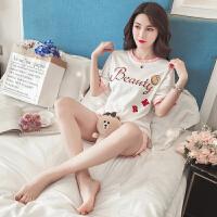 睡衣女夏季韩版清新学生天可爱笑脸宽松短袖纯棉家居服两件套装 YM星星笑脸短套