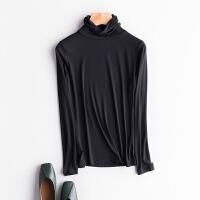 堆堆领秋衣大码女装秋冬装韩版莫代尔修身长袖女士T恤高领打底衫2018新品