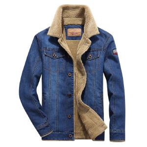战地吉普AFS JEEP冬季加绒牛仔夹克男士加厚翻领工装牛仔外套棉衣宽松大码保暖衣
