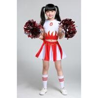 儿童拉拉啦啦队服足球篮球啦啦操健美操表演出服装幼儿小学生 红色 女款 送袜子