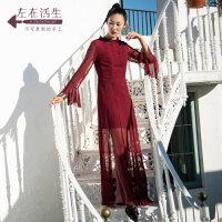 生活在左2018秋季新款女装手工绣花真丝连衣裙文艺长袖长裙飘逸女