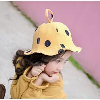 夏季女童防晒遮阳帽儿童帽子宝宝公主渔夫帽婴幼儿圆点小盆帽