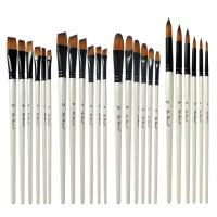新款6支双色尼龙毛水彩画笔套装 环保珍珠白木杆美术颜料笔刷