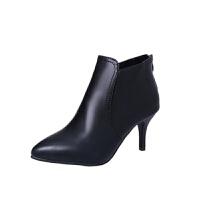 舒适好看!时尚新品短靴踝靴欧美尖头细跟高跟7cm马丁靴加棉韩版春秋女鞋单靴子9cm青春靓丽