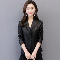 2019春皮衣女士短款修身皮夹克女装小西服韩版百搭皮外套 L 95-100斤