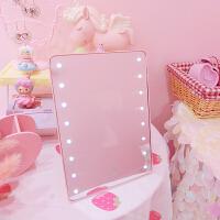 粉色LED化妆镜带灯触屏台式灯梳妆镜欧式台灯公主镜便携带灯镜子 LED台式镜子