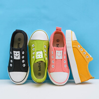 童鞋男童女童儿童帆布鞋一脚蹬懒人鞋宝宝布鞋单鞋子