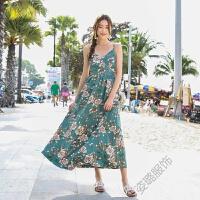 波西米亚碎花露背长裙度假雪纺沙滩裙性感吊带裙2018夏 图片色
